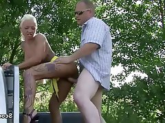 Amateur German Hardcore Old and Young Outdoor
